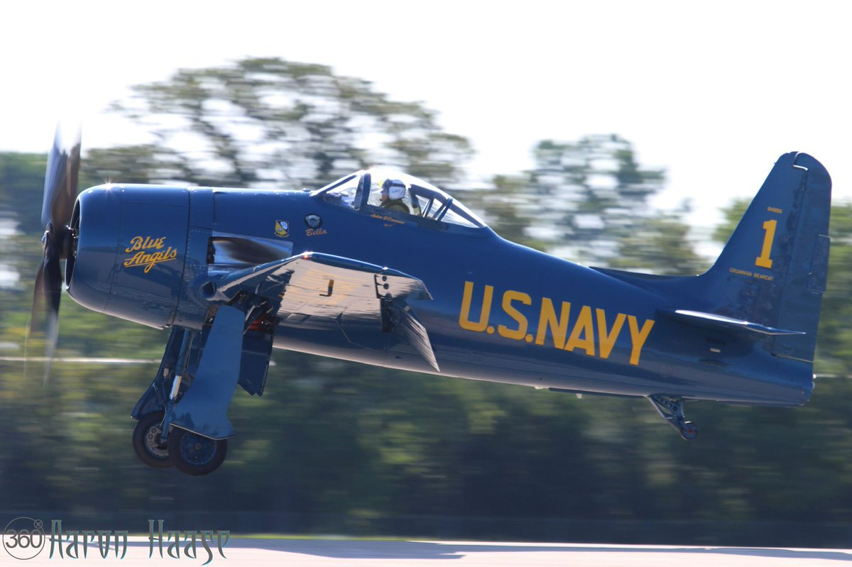 John O'Connor's beautiful USN Blue Angels F8F Bearcat arrived this morning here at the 2019 EAA AirVenture.  Photo: Aaron Haase  #OSH19 #50inOSH #EAA #AirVenture #WeLoveAirshows #airshow360 #airshow #avgeek #aviation #ICAS #instaplane #warbirds