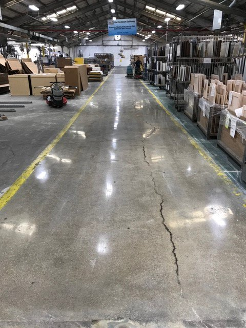 The #concrete #floor pictured here is 60 years old. Despite cracks and uneven areas, 3 resets, 2 hones, and 2 polishes with the Crete Rx System made an unbelievable difference. #polish #shine