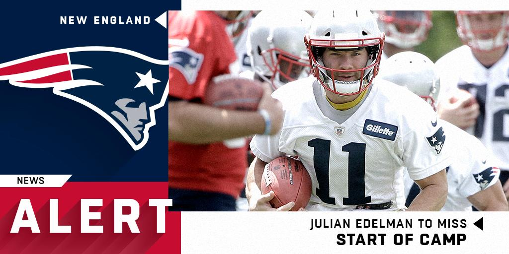 Julian Edelman (thumb) to miss start of training camp (via @RapSheet)<br>http://pic.twitter.com/xxC5XVPCx6