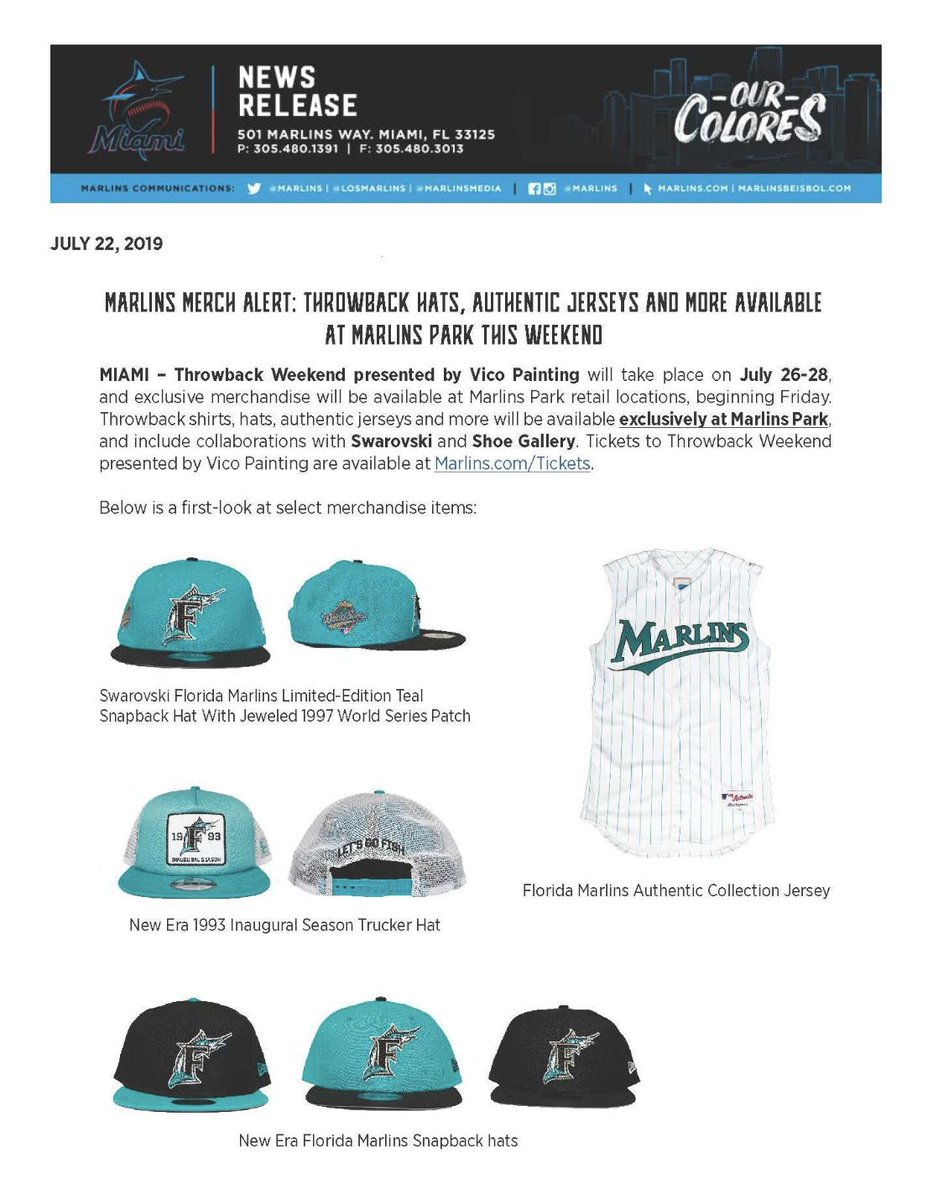 The @Marlins are going with their teal throwbacks this weekend and selling gear. List of stadium names while they were the Florida Marlins:  - Joe Robbie Stadium - Pro Player Park - Pro Player Stadium - Dolphins Stadium - Dolphin Stadium - Land Shark Stadium - Sun Life Stadium