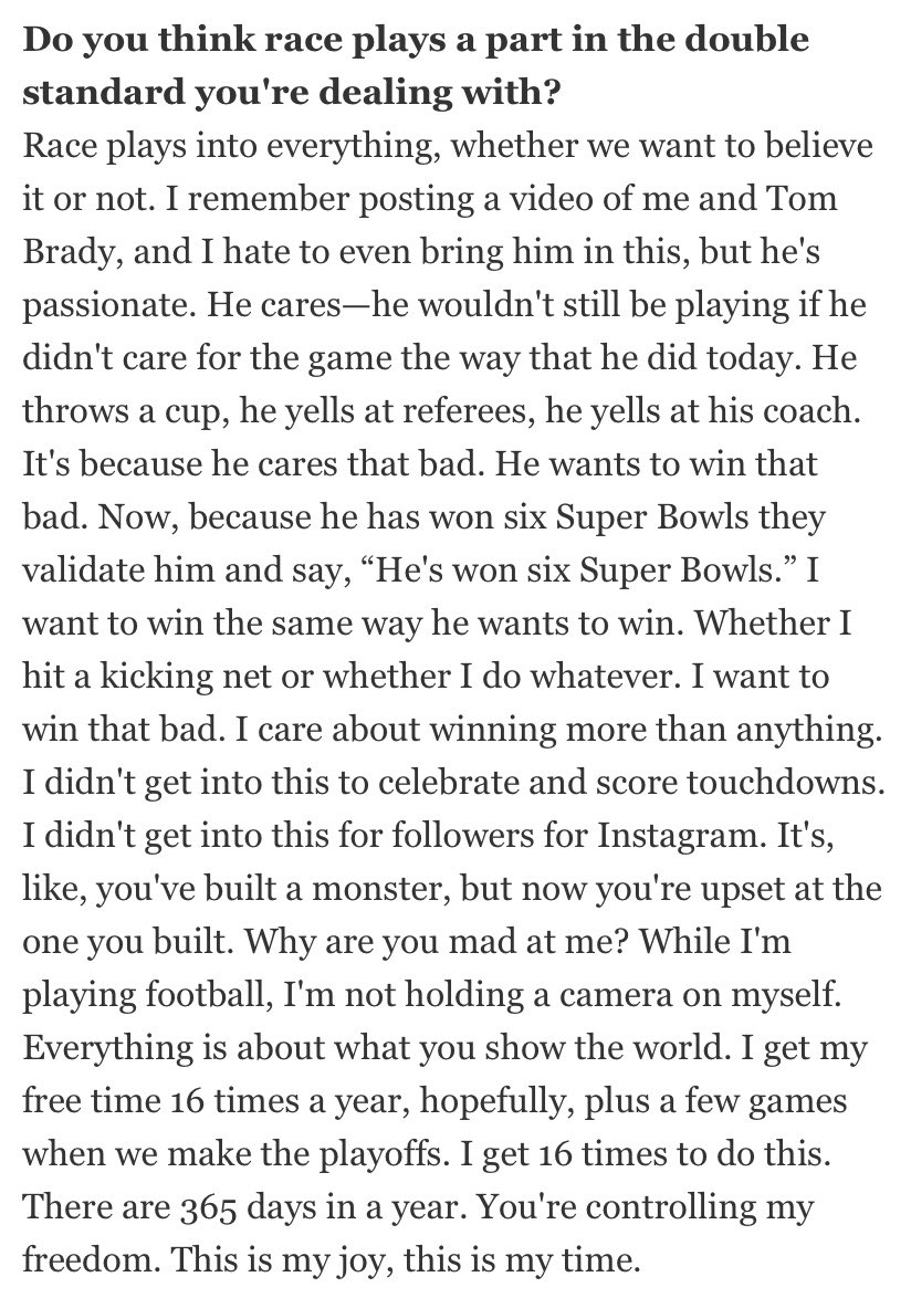 """There are some great quotes in this Odell article. """"You've built a monster and now you're upset with the one you built"""" <br>http://pic.twitter.com/ZS7Ksiwrzl"""