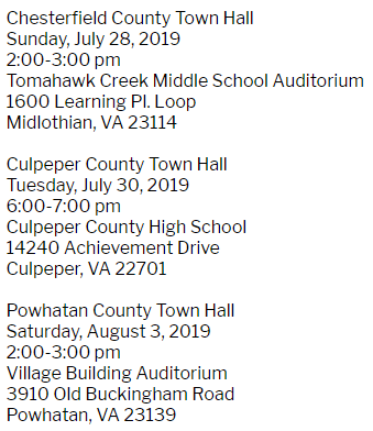 NEXT WEEK We have 3️⃣ town halls in 3️⃣ different #VA07 counties! Details below 👇 I'm really looking forward to hearing from constituents in Chesterfield, Culpeper, & Powhatan about the issues having an everyday impact on our schools, workplaces, checkbooks, and doctor visits.
