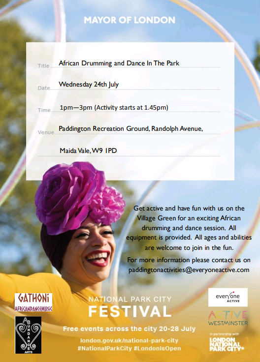 Are you free on Wednesday 21 1-3pm? This looks like heaps of fun! Contact paddingtonactivities@everyoneactive.com for more details.Have some fun in the park on a sunny day! @EveryoneActive @PaddingtonRecjp @ActiveWCC #volunteer #drumming #dancing