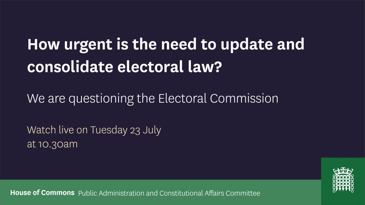 Tomorrow at 10.30am well be holding the third session in our electoral law inquiry. Well be hearing from @ElectoralCommUK. You can watch live here: parliamentlive.tv/Event/Index/f4…