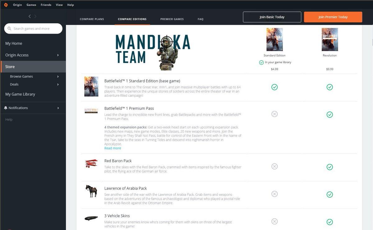@Battlefield 1 en @OriginInsider prácticamente regalado  $4.99 standard edition y $9.99 Revolution edition. #Battlefield #MandiokaTeam #ParaguayGamers pic.twitter.com/JdFoKebLlI