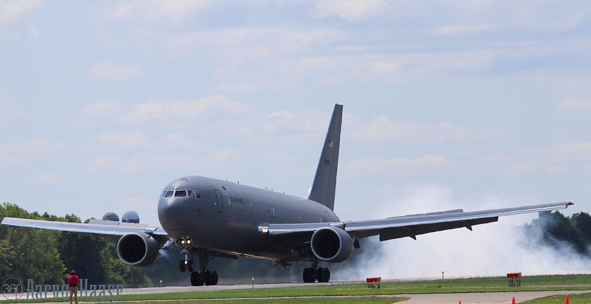The arrival of the KC-46 to Oshkosh!  Photos: Aaron Hasse & Steve Holzinger  #OSH19 #50inOSH #EAA #AirVenture #WeLoveAirshows #airshow360 #airshow #avgeek #aviation #ICAS #instaplane