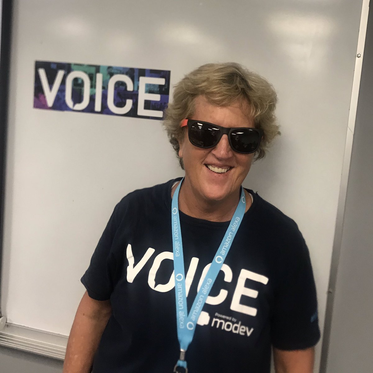 A+ afternoon workshop from @hculbertson on voice design for older adults, seniors & elders — Heidi is one of the most thoughtful and creative designers and entrepreneurs working in #voice — we wore  in our mock testing to simulate vision challenges #VOICE19<br>http://pic.twitter.com/2AvstorVLS
