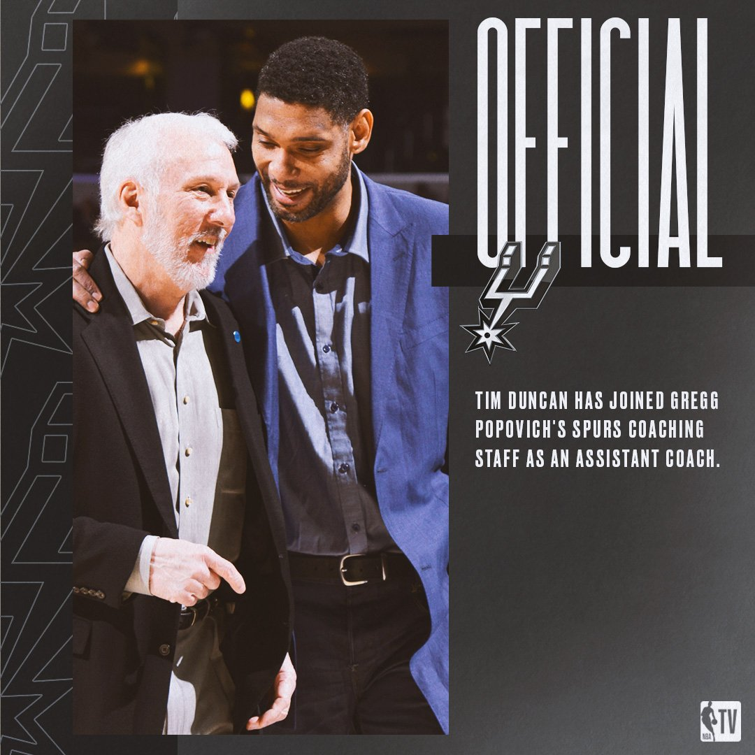 Tim Duncan has joined Gregg Popovich's coaching staff as an assistant coach.