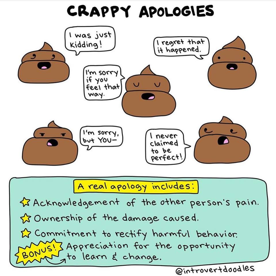 An apology w/o sincerity & genuine remorse, while making excuses, or giving 'reasons' for the words/behavior, w/ no attempt at atonement or change.... is NOT an apology!  None of us, I repeat, NONE of us have ever heard a genuine apology from 'our narcs'.  Let that sink in. #NPD