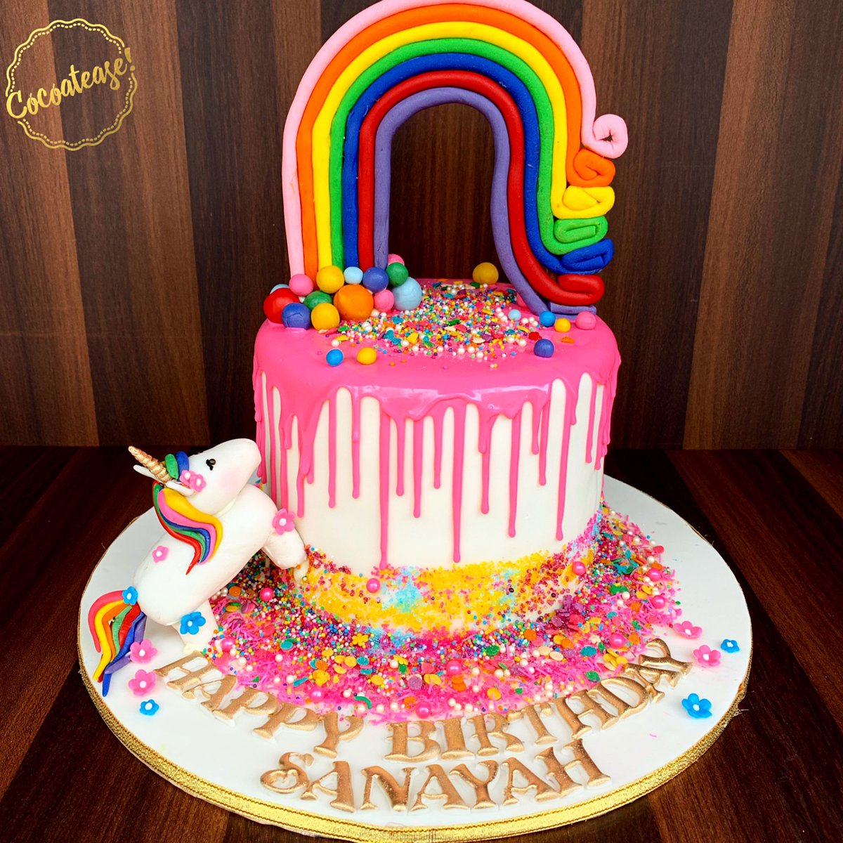 """""""Create your own rainbow, everyday.""""🌈🌈🌈How adorable is this cake! Rainbow inside out! #rainbow #birthday #cake #unicorn #cute #magic #sparkle #sprinkles #love #joy #happiness #tag #follow #like #cocoatease #mumbai #foodie #blogger #artist #chef #mumbai #food #pastry"""