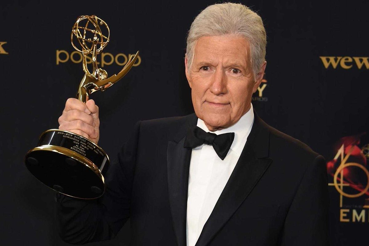 "Happy 79th birthday to ""Jeopardy"" host Alex Trebek! He has been awarded six Outstanding Game Show Host Emmy Awards in his career. #80s #80stv<br>http://pic.twitter.com/divIt8EXcB"
