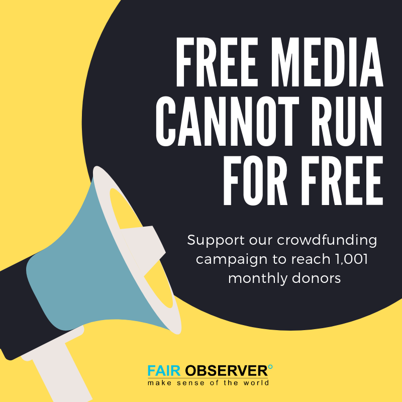 Support our crowdfunding campaign to reach 1,001 monthly donors: https://www.fairobserver.com/donate/  #Nonprofit #IndependentMedia
