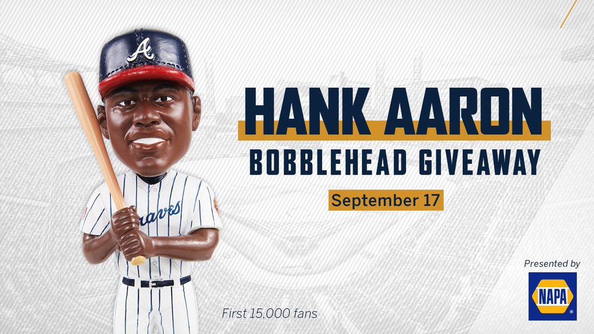 JUST ADDED: Hank Aaron bobblehead giveaway on 9/17!Led by Hank Aaron, the Braves won the NL West Division title in 1969 – the first division championship in Atlanta Braves history. The bobblehead includes a special 50th anniversary designation.🎟http://bit.ly/2JKOZAA