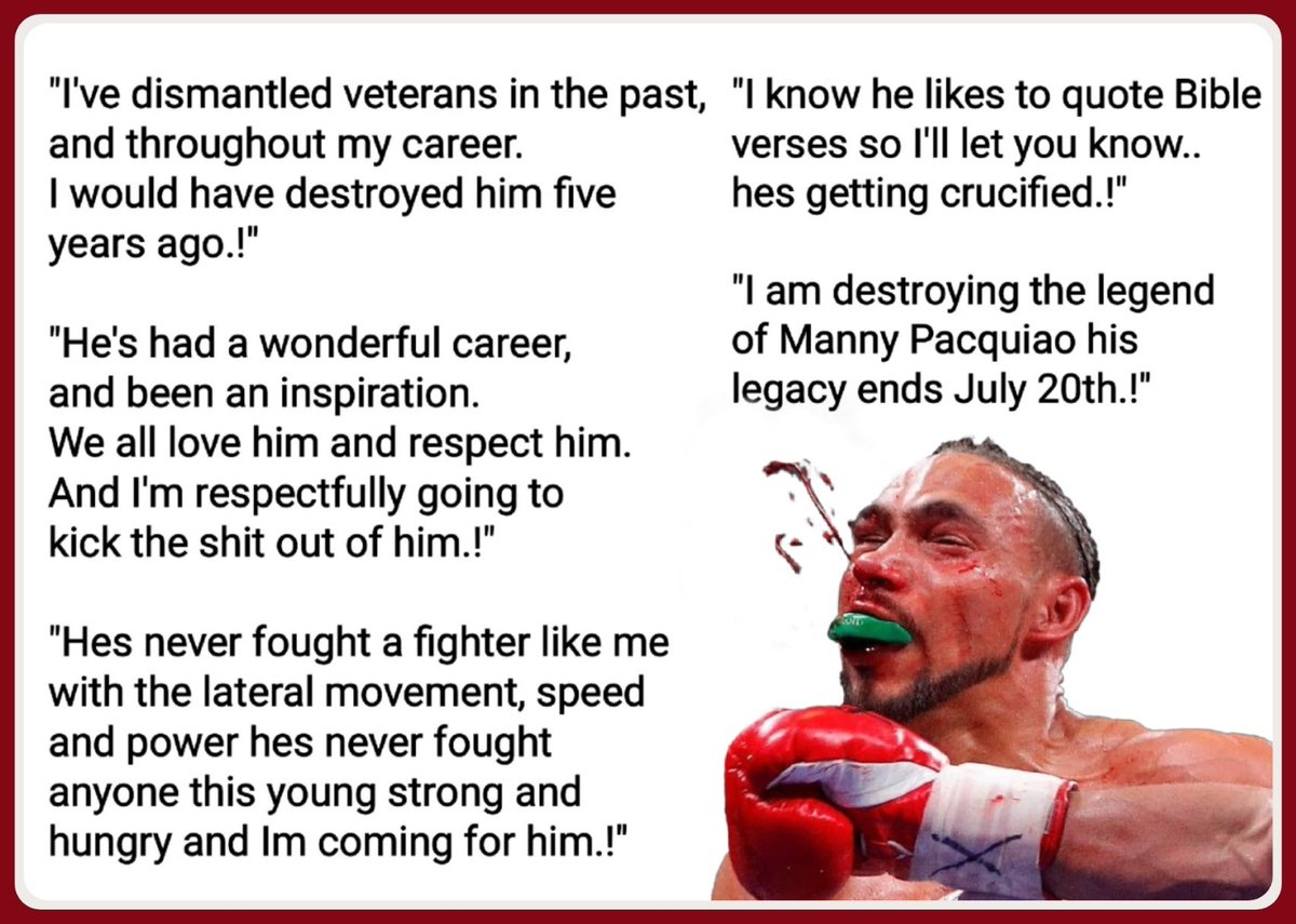 Some of Thurman's best quotes on what he was going to do to the Filipino legend.!  #PacquiaoThurman #boxing<br>http://pic.twitter.com/9jNwipmt0h