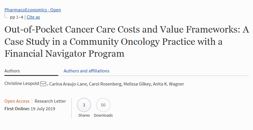 """New Article """"Out-of-Pocket #Cancer #Care #Costs and Value Frameworks: A Case Study in a #Community #Oncology #Practice with a Financial Navigator Program."""" Co authored by @CHeRP_DPM Associated Faculty Melissa Gilkey published in #PharmacoEconomics https://buff.ly/2Z62qAn"""