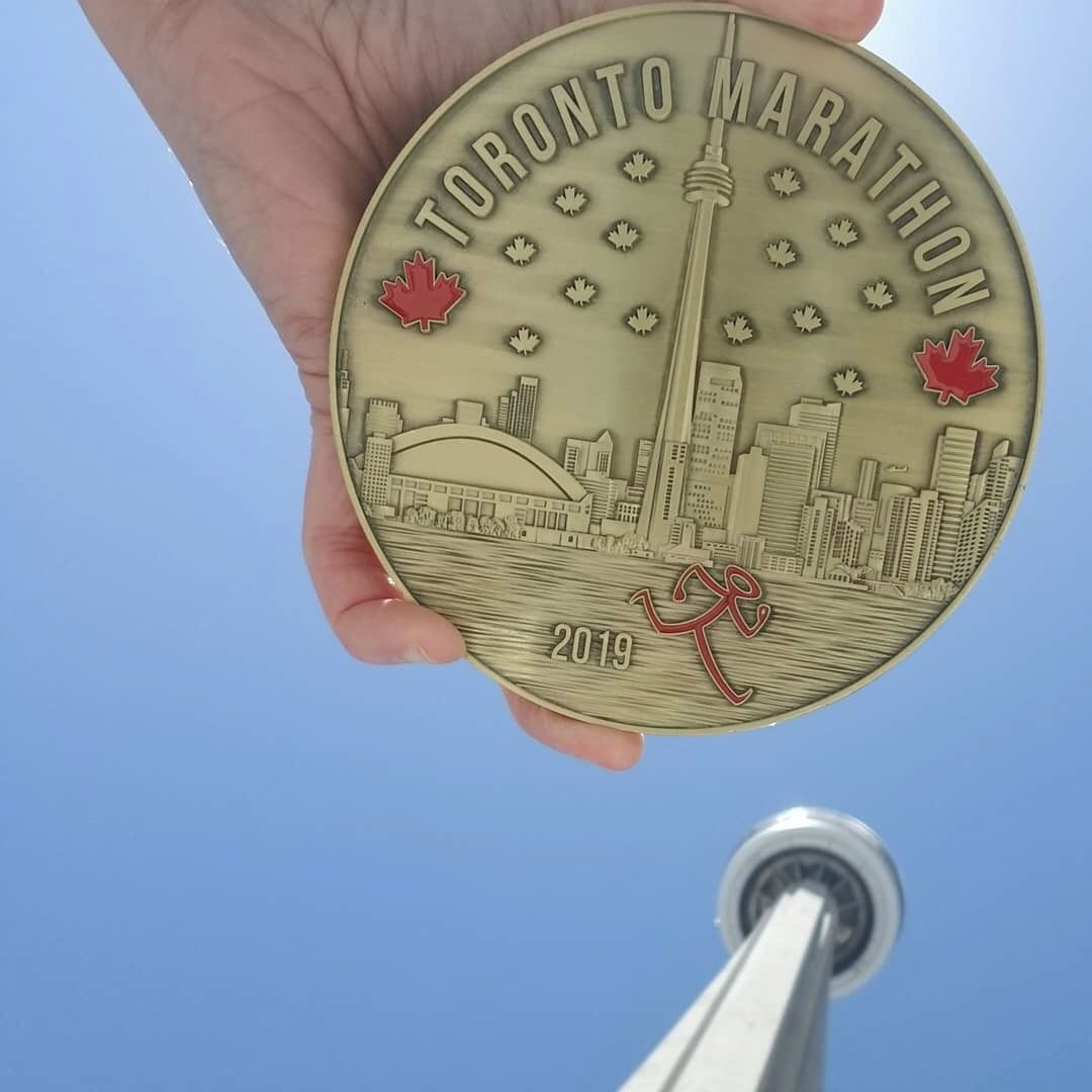 Nothing says Toronto like the CN Tower! That's why it's featured on each of this year's medals  What should the 2020 medals feature? #medalmonday #marathonmonday #torontomarathon #marathonrunners #marathonmedals<br>http://pic.twitter.com/DG8Y1mtrZd