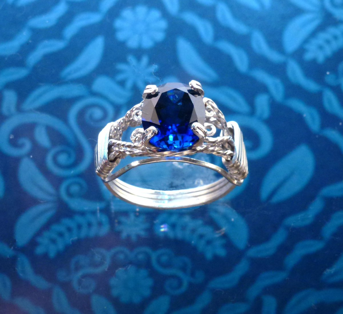 Blue Sapphire Ring Wire Wrapped Womans Jewelry Handmade in SIlver FREE SHIPPING https://etsy.me/2ru1aas  #etsy #etsymntt #handmade #jewelry #bohemian #fashion #etsygifts #handmadejewelry