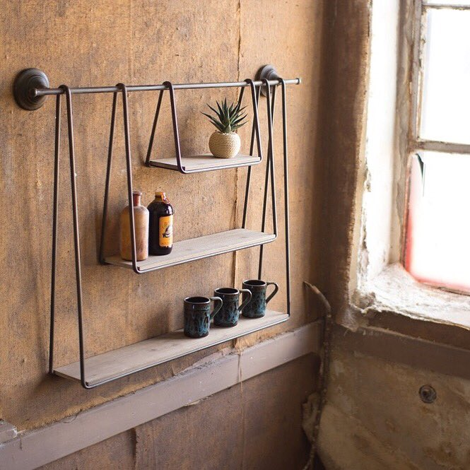 This unique three tier shelf is back in stock and we just had to share! 🙌🏼 . . . . #uniquelyrustic #modernfarmhouse #farmhouseinspired #farmhouse #boho #bohostyle #bohochic #beautifullyboho #bohemian #eclectic #eclectichome #bohome #shelves #industrialshelf #itsback #homedecor