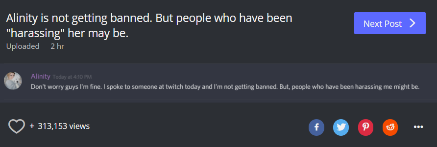 "Alinity claims that @Twitch told her she won't get banned but people ""Harassing her"" over her throwing her cat will be! #DramaAlert https://t.co/YvGug0H8oH"