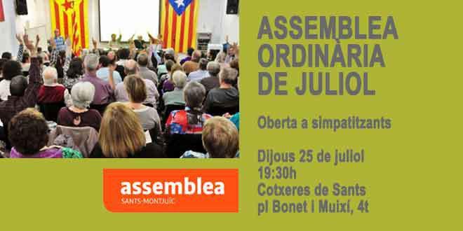 CONVOQUEM als membres i simpatitzants de #Sants-Montjuïc per la #Independència a l'assemblea ordinària de juliol: Dijous 25 a les 19:30h a les Cotxeres de Sants.  http://smxi.cat/assemblea-dassociats-i-simpatitzants-de-juliol/… #ObjectiuIndependència