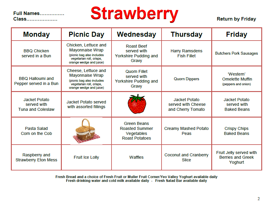 Whats for lunch? This week is Week 2 - Strawberry. To pay for your school lunch (KS2 pupils only) please use our online payment system: ow.ly/ZZho30o3EAc
