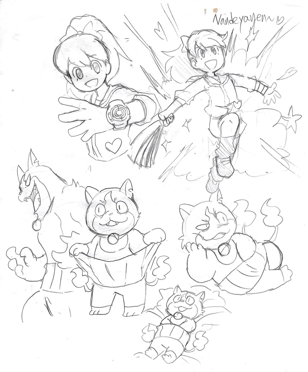 made some yo-kai watch 4 doodles and trying to get out of an art block. <br>http://pic.twitter.com/1Vq8X7ZVZZ