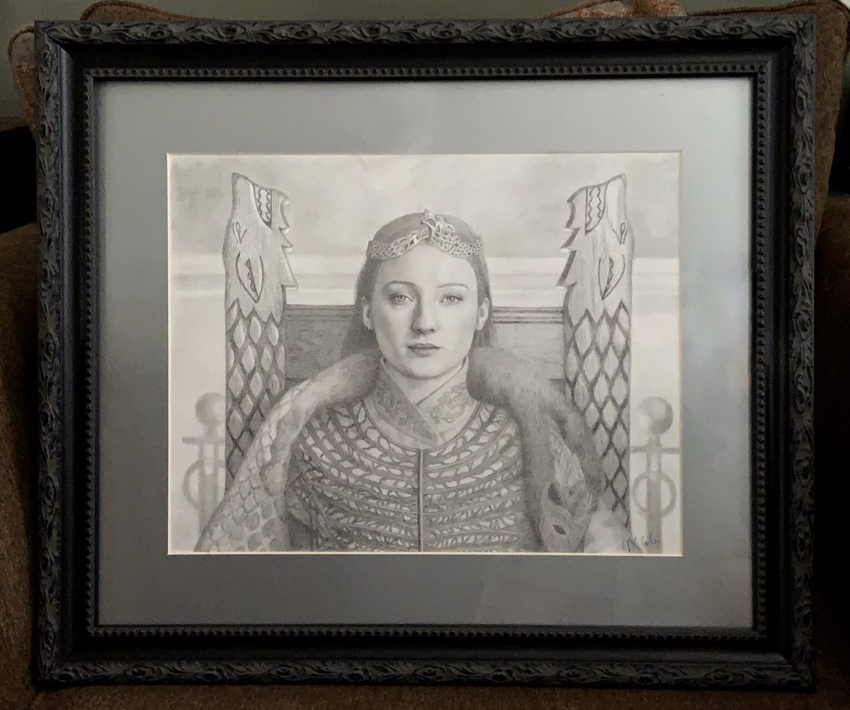 Found a beautiful frame for my Queen in the North art. This is still available if anyone is interested  #SansaStark<br>http://pic.twitter.com/C8dwTIRNKG