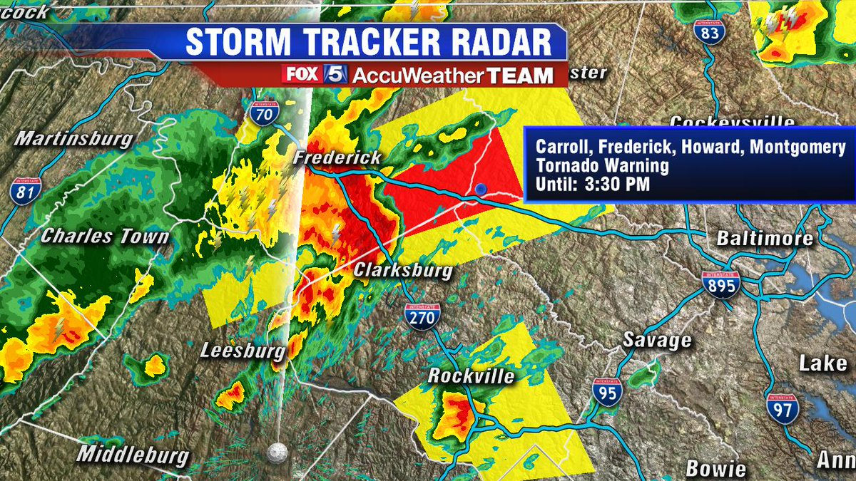 RT @caitlinrothfox5: TORNADO WARNING! Take cover if along I-270 and points east - in red box @fox5dc https://t.co/aE72XdTK6q