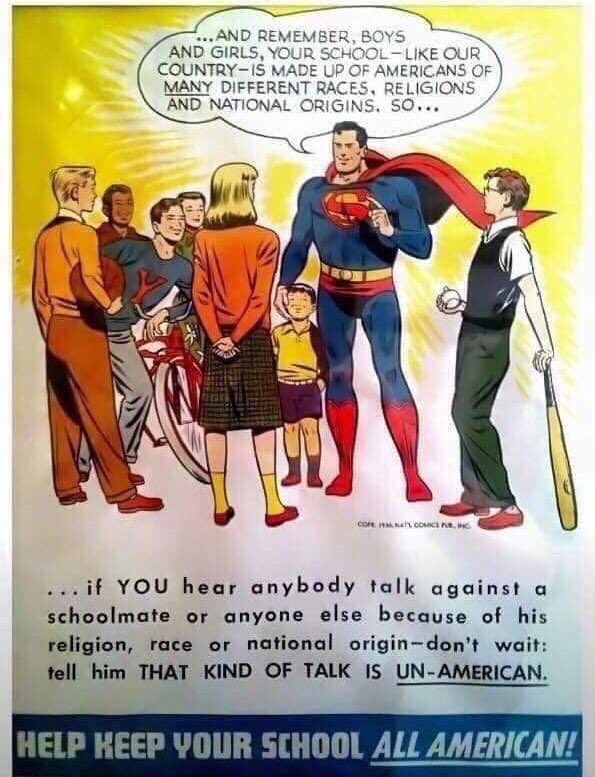If only we still had Superman posters like this one, from the 1950s... #LoveNotHate<br>http://pic.twitter.com/T5kheOFXJr