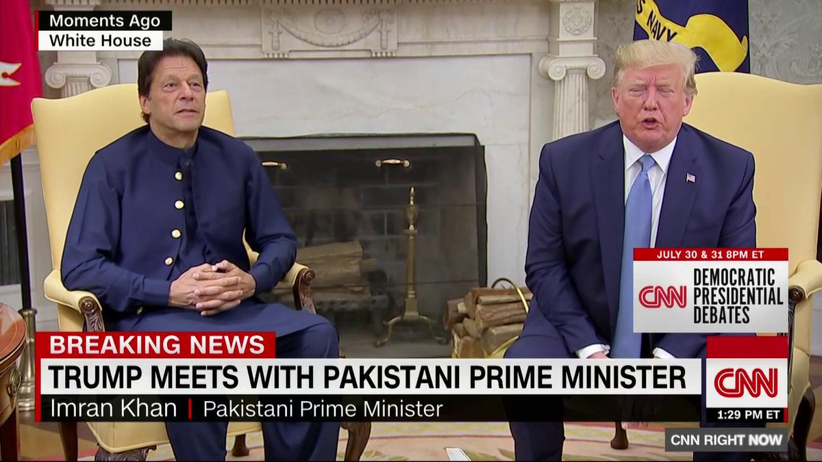 """According to Trump, India's Prime Minister Modi """"actually said, 'Would you like to be a mediator or arbitrator?' I said 'Where?' He said, 'Kashmir.'""""  India's official spokesman just issued statement saying: """"No such request has been made by Prime Minister to the US President."""""""