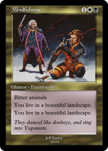 Why, thank you!  The Tennessee Appalachians are beautiful... though the people can be questionable. #GoogleTranslatesMTG  (original:  https:// gatherer.wizards.com/Pages/Card/Det ails.aspx?multiverseid=26822  … )<br>http://pic.twitter.com/zwYphQjSfr