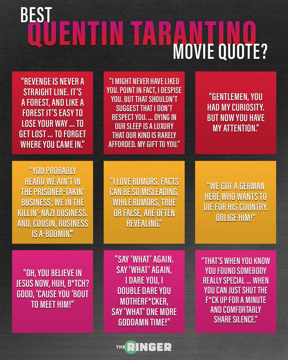 What's your 𝐟𝐚𝐯𝐨𝐫𝐢𝐭𝐞 Quentin Tarantino movie quote? #TarantinoWeek<br>http://pic.twitter.com/5lxRN4EHsD