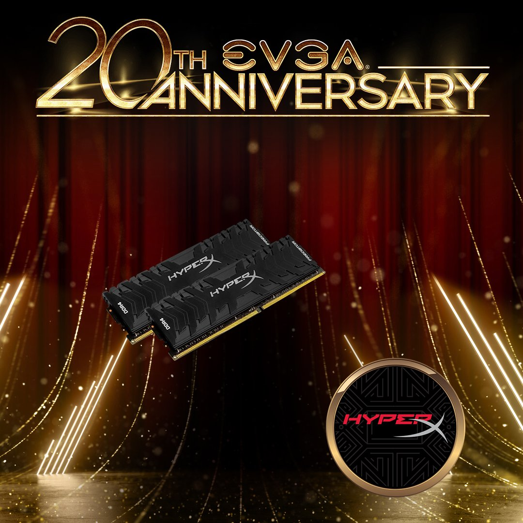 A big thank you to @HyperX for donating awesome gaming Ram, SSDs and Peripherals for our 20th Anniversary Event! #EVGA20  http://www. evga.com/20    <br>http://pic.twitter.com/WYgfOs9r6X