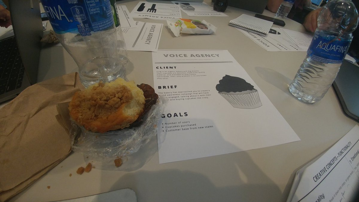 Designing a Cupcake brand Alexa skill at Adva Levin's @PretzelVoice creative concepts workshop with @DrTeriFisher at #VOICE19<br>http://pic.twitter.com/AY7OWE3AvV