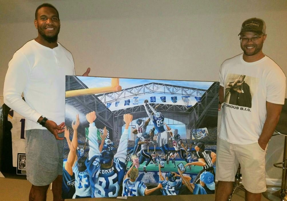Pretty cool deal here. #Colts offensive assistant Gunnard Twyner crafted up this painting for @Ebron85 📸: Eric Ebron @WISH_TV