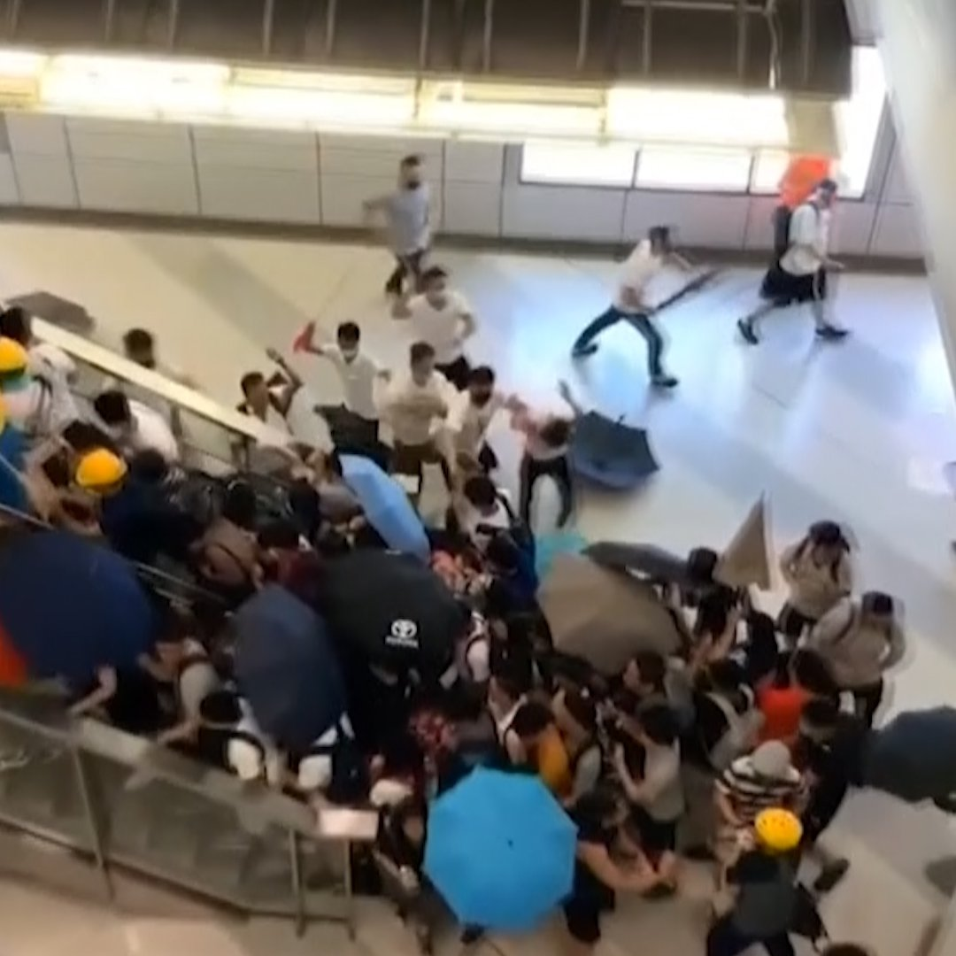"""A mob of men wearing white shirts and armed mostly with sticks, believed to be members of """"triad"""" gangs, attacked passengers at a subway station in Yuen Long—apparently targeting Hong Kong protesters. At least 45 people were injured"""