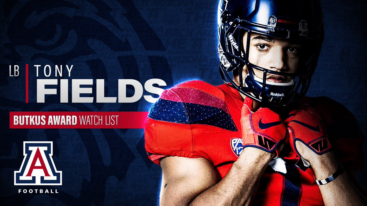 New week, new watch list honors. Linebackers Tony Fields and Colin Schooler have been named to the Butkus Award Watch List today.   #BuildingTheA | #BearDown    https:// arizonawildcats.com/news/2019/7/22 /football-fields-schooler-named-to-butkus-award-watch-list.aspx   … <br>http://pic.twitter.com/Addwta0XNX