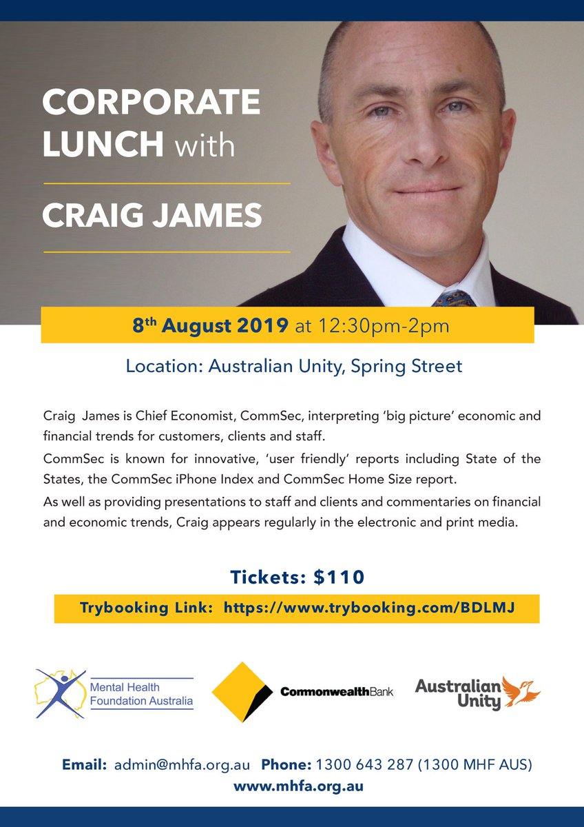 RT @MHFAus: Secure your tickets today for the fantastic Corporate Lunch with Craig James: https://www.trybooking.com/BDLMJ   #craigjames #corporate #lunch #economist  #Financial #commsec #australianunity #mhfa #aus