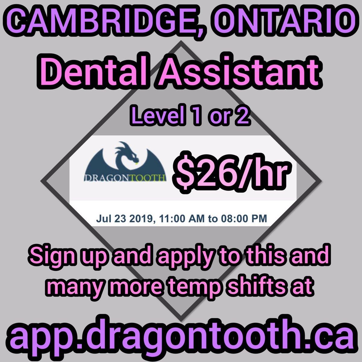 Dental Assisting temp shift available tomorrow in Cambridge,Ontario. Sign up and apply!!! #dentalassisting #dentalassistant #cda #canadiandental #canadiandentalassociation #canadiandentalassistants #ontariodentalassistantsassociation #ontariodentalassociation #oda #cda #dental