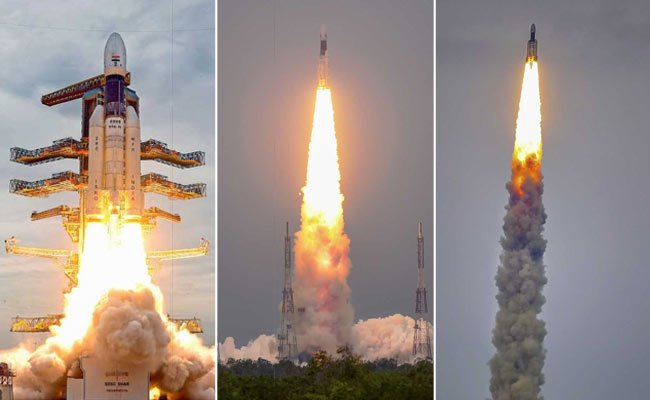 """#Chandrayaan2 launched; """"bounced back with flying colours,"""" says #ISRO. Read more here: https://www.ndtv.com/india-news/chandrayaan-2-indias-moon-mission-launched-days-after-lift-off-was-aborted-due-to-technical-snag-2073341…(Photos: PTI)"""
