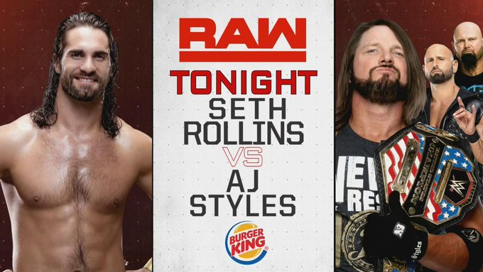 TONIGHT: @WWERollins takes on #USChampion and one PHENOMENAL member of #TheOC, @AJStylesOrg! #RawReunion