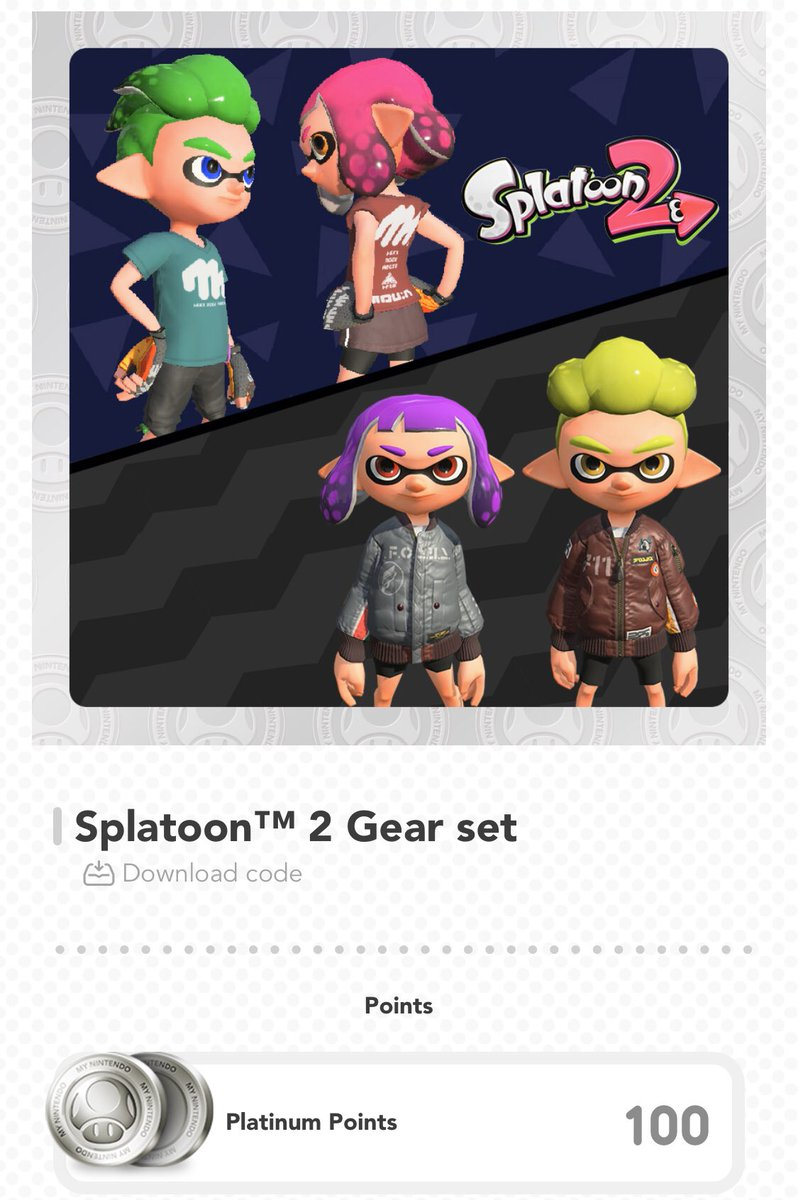NEWS: Nintendo has added the following gear as a MyNintendo item for 100 Platinum coins!    Gray FA-11 Bomber   Brown FA-11 Bomber   Red V-Neck Limited Tee  Green V-Neck Limited Tee   https:// my.nintendo.com/rewards/b6fcde 447f43d27d  … <br>http://pic.twitter.com/Fce6tu4uxx