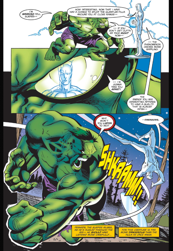 Silver Surfer #125 1997 #Hulk  is destroying a small town . SS tries to stop the beast but soon realizes this is not the Hulk he once knew. During the battle the giant reveals he has been separated from Banner and is dying.   one of my favorite Hulk artists, the great @RonGarney<br>http://pic.twitter.com/sMqquxV9i8