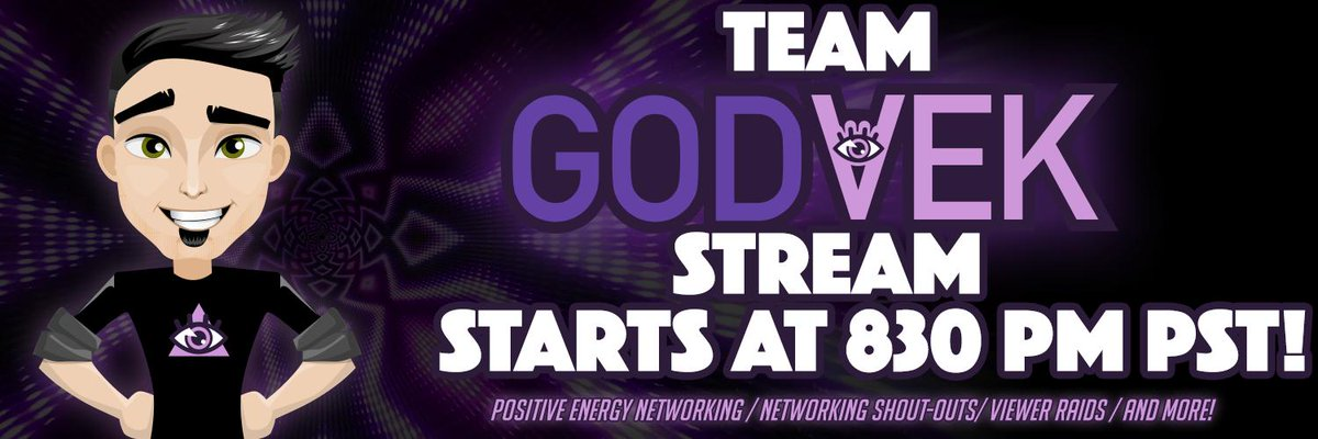 Monday night networking LIVE!🌛🎉  See you tonight #TeamGodvek👁️ 🗓️7/22/19 ⌚️830PM PST  ☮️Positive energy networking shout-outs 🚀#Twitch Viewer Raids 🐦Twitter help  👁‍🗨If you're not streaming look for live streamers in the chat to support!  📺(link: http://twitch.tv/godvek