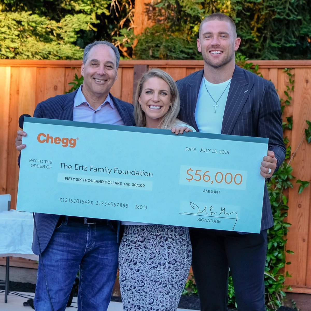 We're motivated every day by the selfless generosity of our friends, family, partners, and supporters who help us do what we do. A special thanks to @Chegg who donated $56,000 dollars to our mission at the Ertz Par-Tee Golf Tournament this past week in NorCal. #MondayMotivation