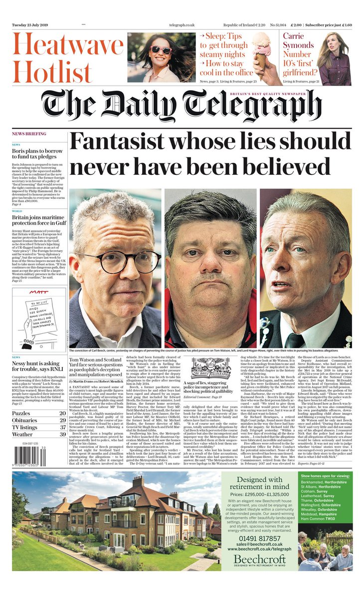"""Tuesday's Telegraph: """"Fantasist whose lies should never have been believed"""" #BBCPapers #tomorrowspaperstoday (via @Hendopolis)"""