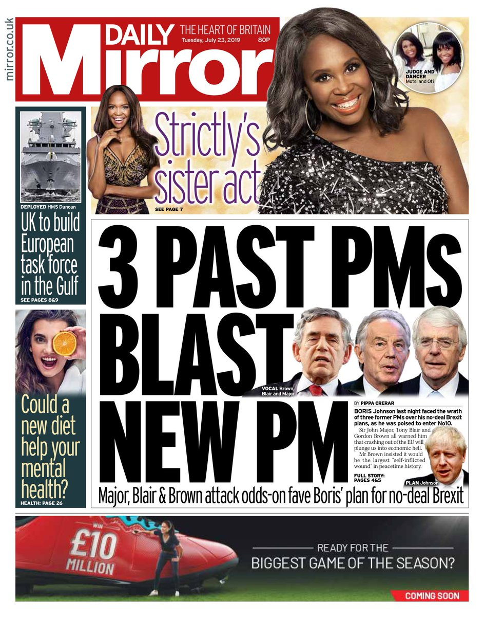 "Tuesday's Mirror: ""3 past PMs blast"" #BBCPapers #tomorrowspaperstoday (via @Hendopolis)"