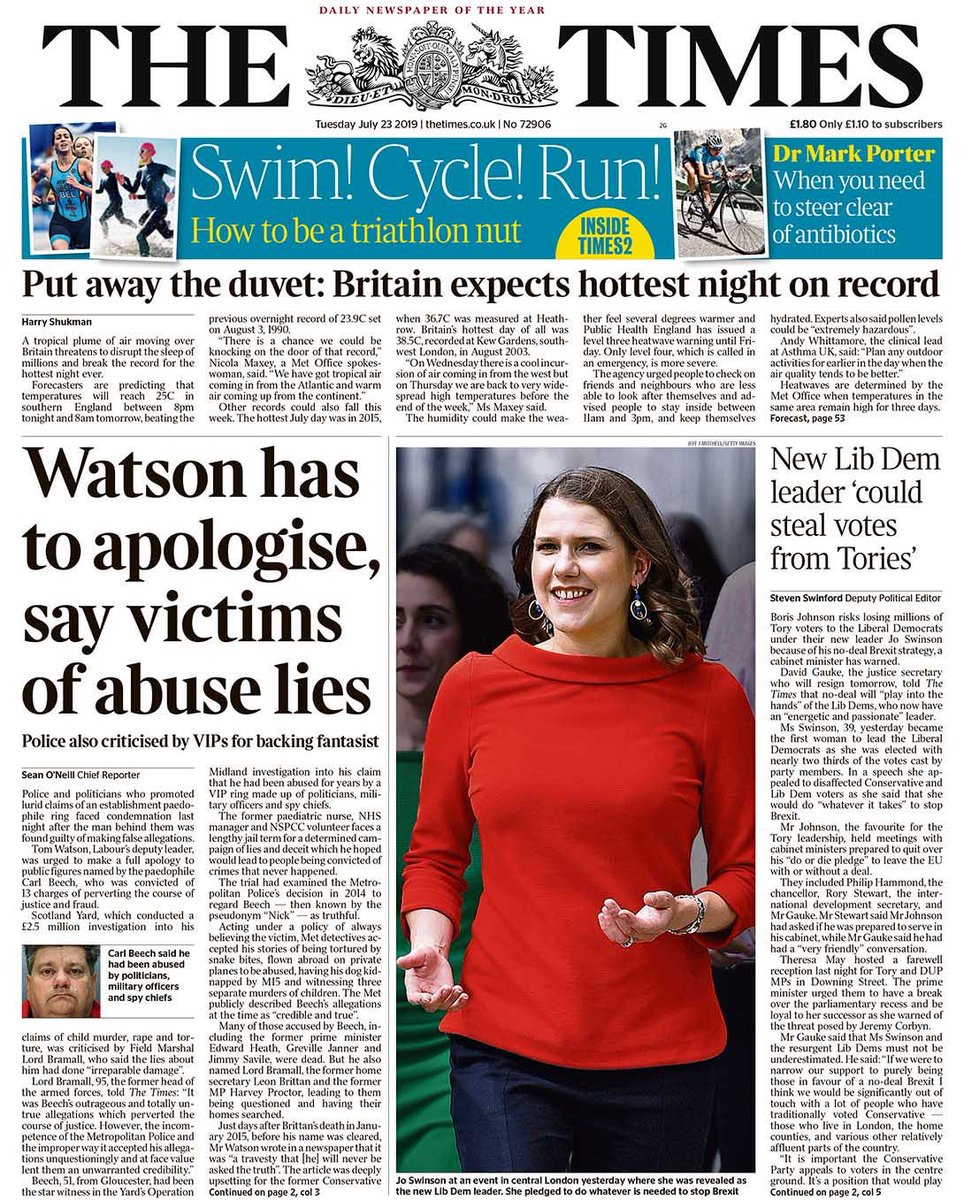 """Tuesday's Times: """"Watson has to apologise, say victims of abuse lies"""" #BBCPapers #tomorrowspaperstoday (via @Hendopolis)"""