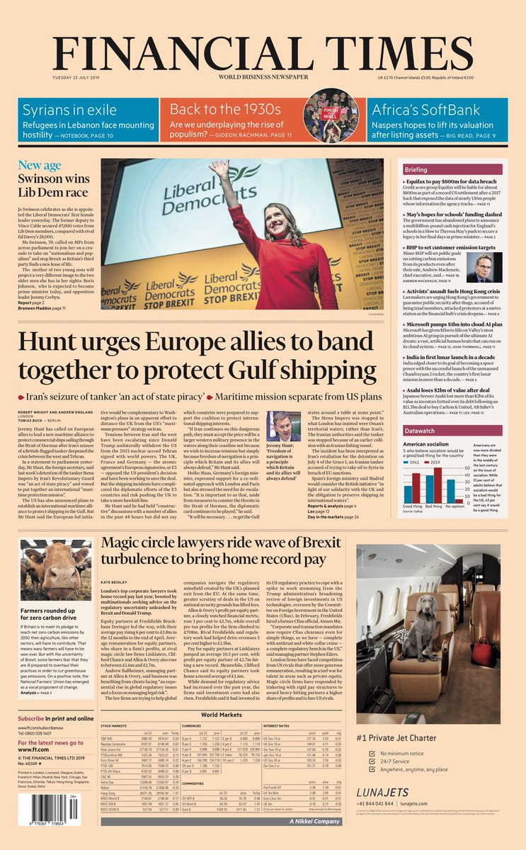 """Tuesday's FT: """"Hunt urges Europe allies to band together to protect Gulf shipping"""" #BBCPapers #tomorrowspaperstoday (via @Hendopolis)"""