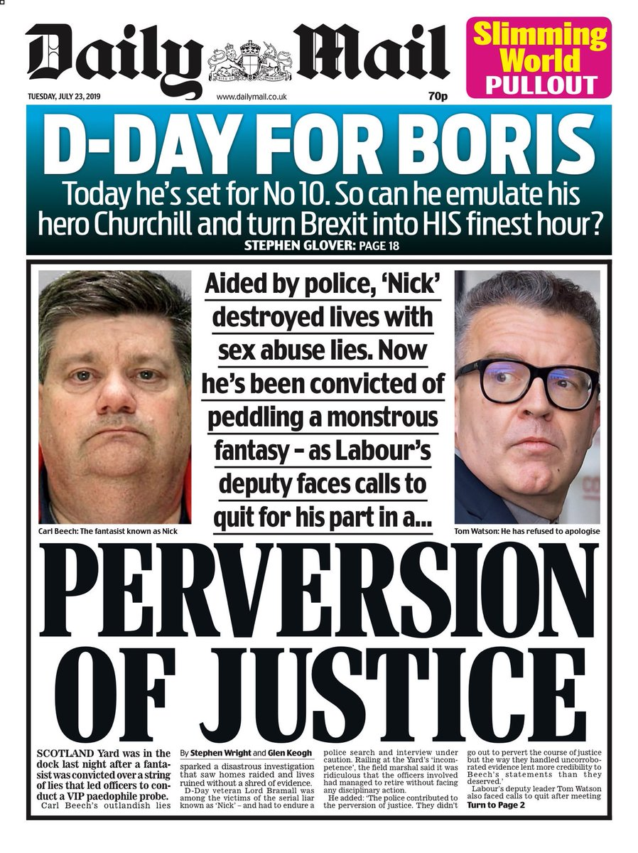 """Tuesday's Daily Mail: """"Perversion of justice"""" #BBCPapers #tomorrowspaperstoday (via @Hendopolis)"""